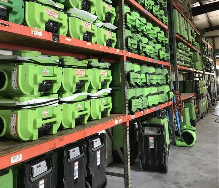 Stored air movers at SERVPRO warehouse